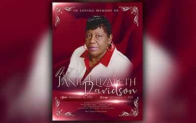 Janie Elizabeth Davidson 1952-2021